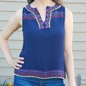Thml boho navy embroidered sleeveless top